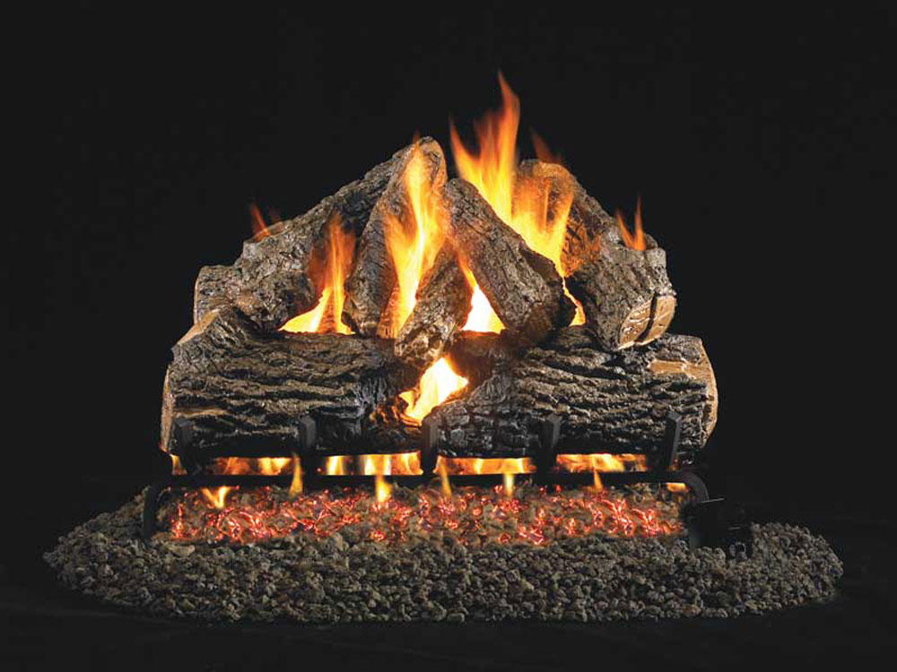 RealFyre Natural Gas Logs Fireplace Charred Oak