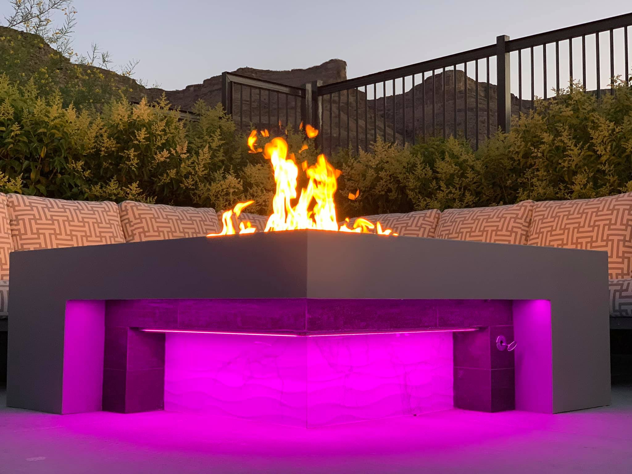 Outdoor Fire Pit Purple LED Lighting