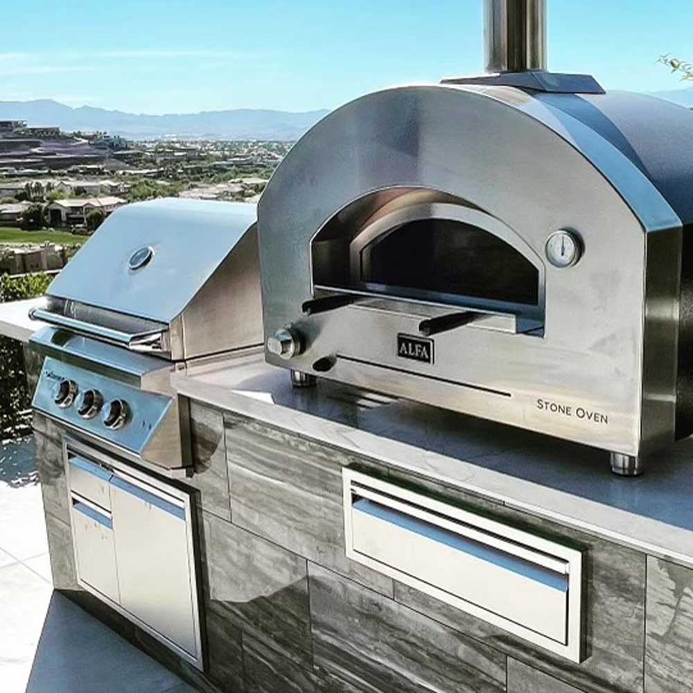 barbeque island and pizza oven